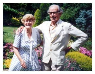 The Battens in their garden 1993. Used with kind permission of George Lovell. All rights reserved.