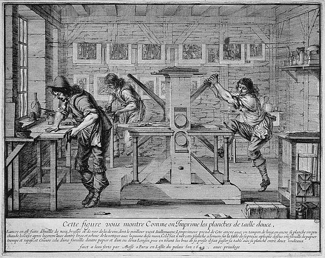 A printer's workshop by Abraham Bosse circa1642. Sourced from Wikimedia Commons and identified by them as being in the public domain.