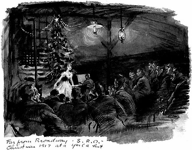 YMCA Hut - Christmas 1917. Image Processed by Distribued Proofreaders as part of the e-book creation process for Project Gutenberg title I was there. Author: Baldridge, Cryus Leroy (1889-1977). Sourced from Wikimedia Commons.