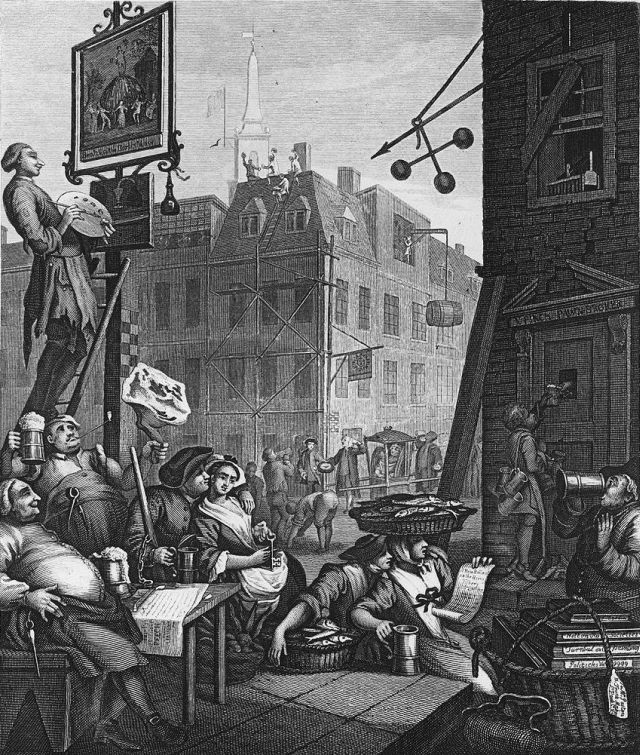 Picture: William Hogarth - Beer Street. Originally 1751 this is a print from an engraving probably between 1806-09 copied by Samuel Davenport from Hogarth's originals. Reproduced here on the understanding that it is in the public domain and sourced from Wikimedia Commons.